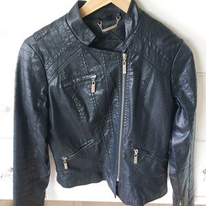 JOUJOU black faux leather moto jacket - small